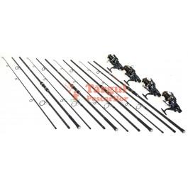 Set 4 Lansete 3.6m Crap Carbon Cu 4 Mulinete Ultra Long Cast