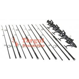 Set 4 Lansete 3.6m Crap Carbon Cu 4 Mulinete Ultra Long Cast 10000