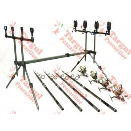 Kit Pescuit Dunare 4 Lansete Carbon 4 Mulinete 13 Rulmenti si Rod Pod Full