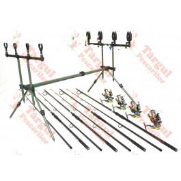 Kit 4 Lansete Carbon 3,6m 2 Tronsoane si 4 Mulinete 11 Rulmenti, Rod Pod Full