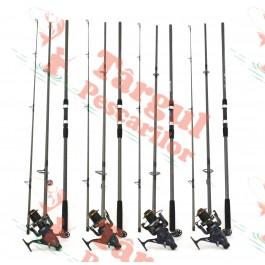 Set crap compus din 4 lansete Fino Carp 3,9m cu 4 mulinete DP70 longcast cu 13 rulmenti si baitrunner